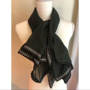 NWT. Anna & Ava embellished olive green scarf.